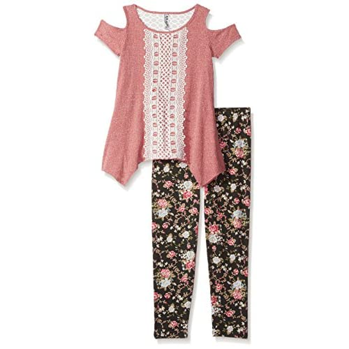 Beautees Girls Big Two Piece Fashion Top with Printed Legging