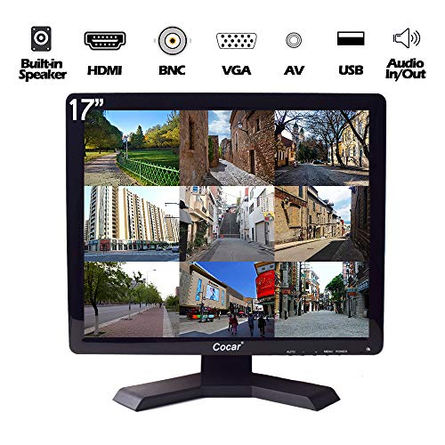 17 inch CCTV Monitor with VGA HDMI AV BNC Audio In/Out Ports, Built-in Speaker 4:3 HD Display (LED Backlight) LCD Security Screen with USB Drive Player for Surveillance Camera STB ()