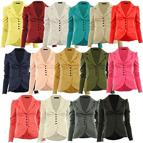 Tailles Femmes jacket 42 cinq Veste paules fronces Fashion Top Mardela filles Bleu button qPnwCXO5fx