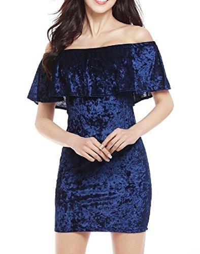 Confortables Femmes Au Large De L'épaule Flouncing Robes Moulantes De Velours D'or Bleu Royal