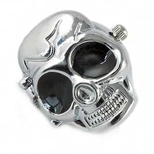 Youyoupifa Cool Design Skull Case Flip Quartz Ring Watch (Silver)