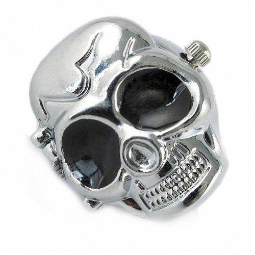Youyoupifa Cool Design Skull Case Flip Quartz Ring Watch