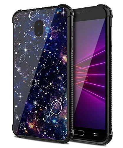PBRO Samsung Galaxy J7 Case,Cute Universe Tempered Glass Back Cover Hybrid Scratch-Resistant Anti-Slip Case for Galaxy J7 2018/J7 Refine/J7 Star/J7 TOP/J7 V 2nd Gen 2018/J7 Aero/J7 Aura-Black