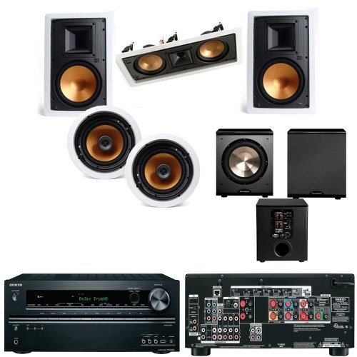 5800 Leather (Klipsch R-3800-WII In Wall System#2 (R-5502WII) FREE PL-200-Onkyo TX-NR626 7.2-C)