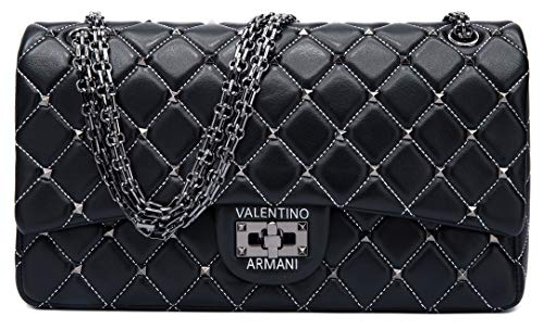 (VALENTINO ARMANI Italian Fashion Designer. 100% Lamb Leather in&out. Luxury Shoulder Crossbody Handbag)