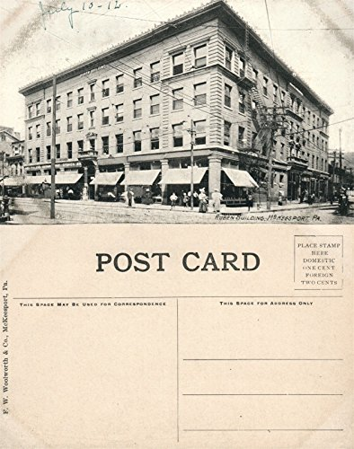 McKEESPORT PA RUBEN BUILDING B/W ANTIQUE POSTCARD