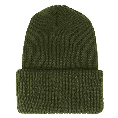 Made in USA, Heavy Weight GI Watch Cap Winter Wool Cuff Folded Beanie Hat - Olive