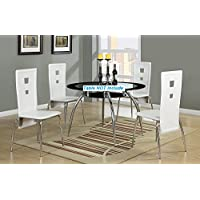 Set of 4 PU Contemporary Dining Chair with White Faux Leather and Sleek Silver Legs Support