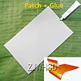 9.4'' x 14'' Gray PVC Patch + 30ml Glue for Inflatable Boat Kayak Canoe Raft Bouncer Airbed Water Toy Repair [Gold Sister]