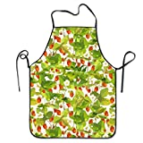 Fruit Pattern With Wild Strawberries With Garden Small Strawberries Adjustable Bib Chef Apron Home Kitchen Apron For Cooking Easy Care