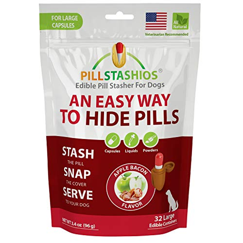 PillStashios – Pill Treat Pockets for Dogs, Easy Pill-Masker for Liquid, Powder and Capsule Medicine, Grain-Free, Gluten Free, Soy Free Pill Pouch in Apple Bacon Flavor, Large