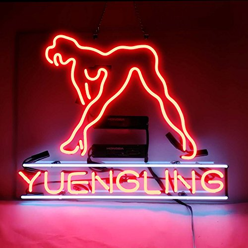 Yuengling Live Nudes Girl Real Glass Tube Handicrafted Light Sign 19x15