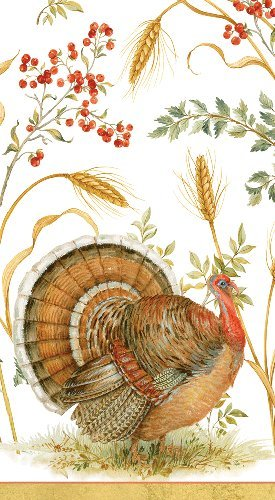 Thanksgiving Hand Towels Turkey Decorations Fingertip Towels or Dinner Napkins Golden Harvest Pk 30 by Caspari