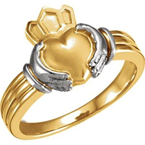 14K White Yellow Gold Claddagh Ring, Size: 10