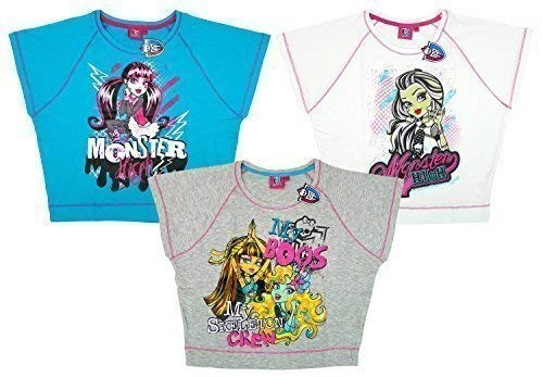 7446f1cf Girls Monster High Skeleton Crew Pack of 3 Batwing T-Shirt Top Tee Sizes  from 8 to 14 Years: Amazon.co.uk: Clothing