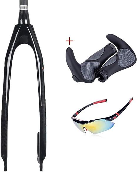 QQKJ - Horquilla de Bicicleta de Fibra de Carbono con Freno de Disco para Piezas de Bicicleta de 26/27.5/29 Pulgadas, Incluye Gafas de Sol para Manillar: Amazon.es: Deportes y aire libre