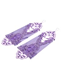 Elegant Women Wedding Bridal Party Fingerless Lace Embroidery Gloves - Light Purple, One Size