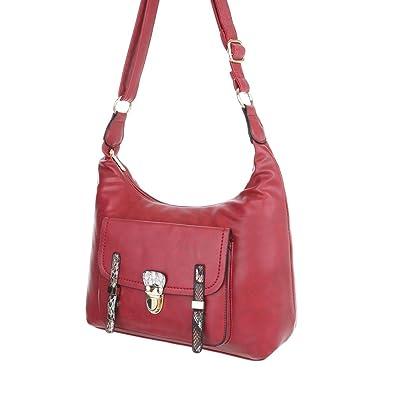 104448367df94 iTal-dEsiGn Damen-Tasche Mittelgroße Schultertasche Handtasche In Used  Optik Kunstleder Rot TA-