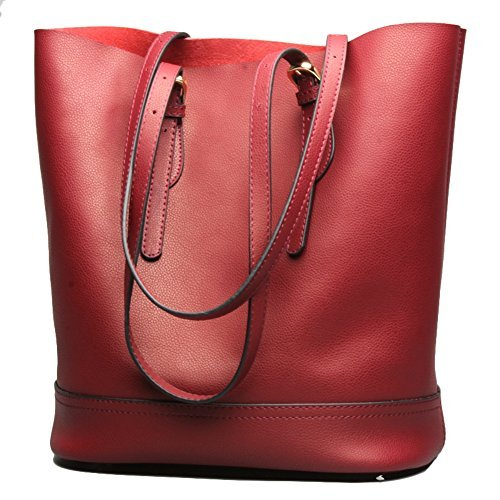 Women's Handbag Genuine Leather Tote Shoulder Bucket Bags Elegant Style Large Capacity (Winered) (Leather Bucket Bags Handbags)