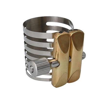 Mxfans Twin Screws Adjustment Alto Saxophone?Mouthpiece Sax Ligature Silver