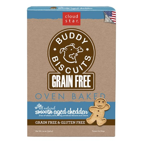 Cloud Star Grain Free Oven Baked Buddy Biscuits Dog Treats, Smooth Aged Cheddar, 14-Ounce (Pack of 12)