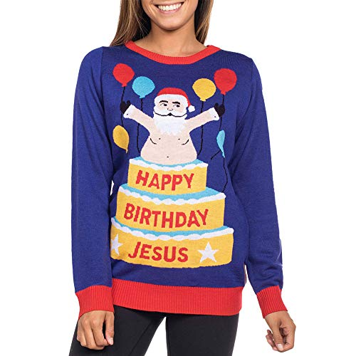 iLUGU Fashion Women's Christmas Santa Cake Printed O-Neck Long Sleeve Pullover Sweatshirt Tops Blouse