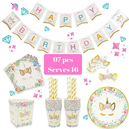 UNICORN PARTY SUPPLIES - Pink & Gold Unicorn decorations theme design set - kids & baby shower disposable tableware 16 x plates, cups, paper straw, napkins, popcorn box - INCLUDING rainbow Happy Bir