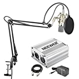 Neewer NW-700 Condenser Microphone Kit - Mic and 48V Phantom Power Supply(Silver),NW-35 Boom Scissor Arm Stand with Shock Mount and Pop Filter(Black),XLR Male to Female Cable for Home Studio Recording