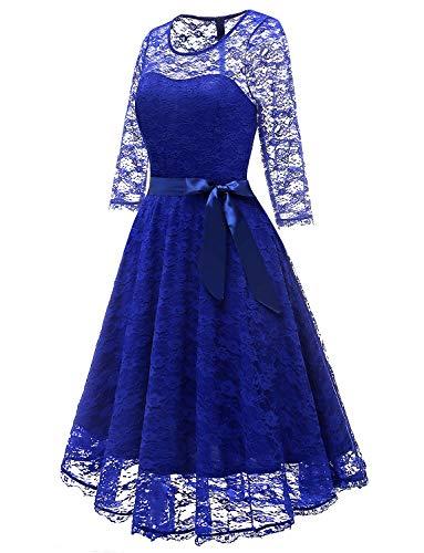 Homecoming Dress Midi Lace Elegant Floral Sleeves Long Royal Gardenwed Cocktail Bridesmaid Dress Blue xUwqgtpTp