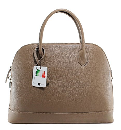 CTM Borsa Donna Classica Elegante, 40x30x15cm, Vera Pelle 100% Made in Italy Fango