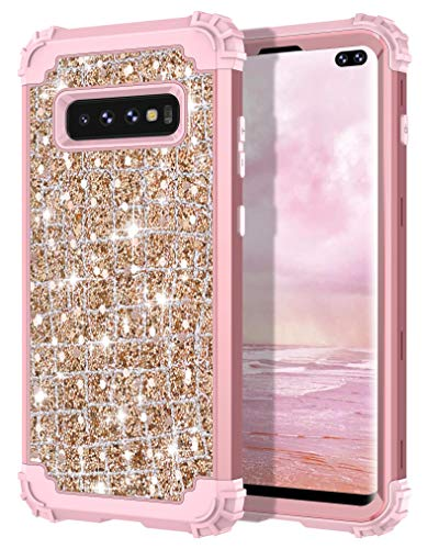Hekodonk Galaxy S10 Plus Case,Luxury Sparkle Glitter Shiny Heavy Duty Shockproof Full-Body Protective Cover High Impact Armor Hybrid Case for Samsung Galaxy S10 Plus - Bling Rose Gold