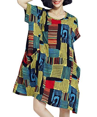 Taille Femme t Sleeves Yellow Impression ELLAZHU Grande Ga622 Robe Courtes 6CtwOwfx