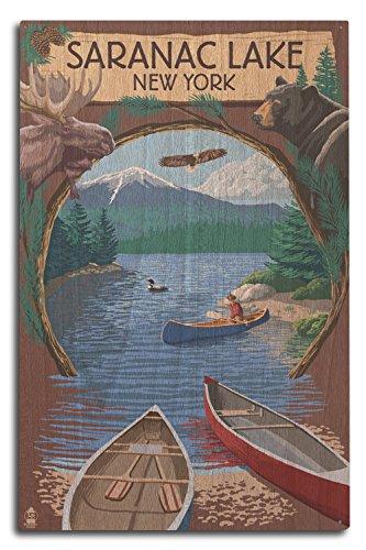Saranac Lake, New York - Adirondacks Canoe Scene (10x15 Wood Wall Sign, Wall Decor Ready to Hang) ()