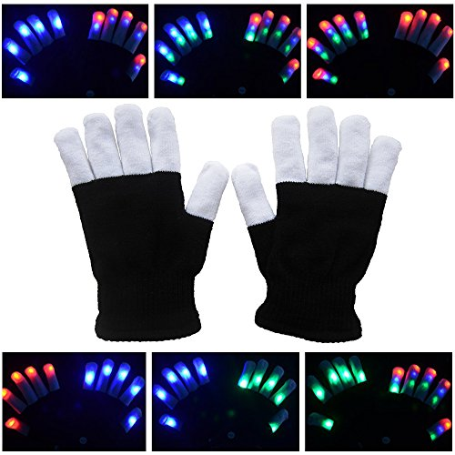 Soondar LED Colorful Flashing Finger Lighting Gloves Glowing Unisex Gloves with Colorful Rave 7 Colors Light Show for Adult