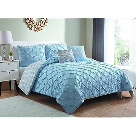 VCNY Home Zarah Pretty Pintuck Comforter Set TWIN XL 66 X 92 Silver Hydrangea Blue