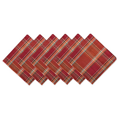 (DII CAMZ10886 Oversized Cotton Napkin, Perfect for Fall, Thanksgiving, Dinner Parties, Catering Events, Or Special Occasions, Autumn Spice Plaid, 6 Pack)
