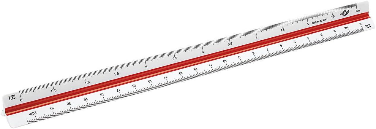 WEDO 05255001 Echelle de r/éduction triangulaire 30 cm Architecte 1 Blanc