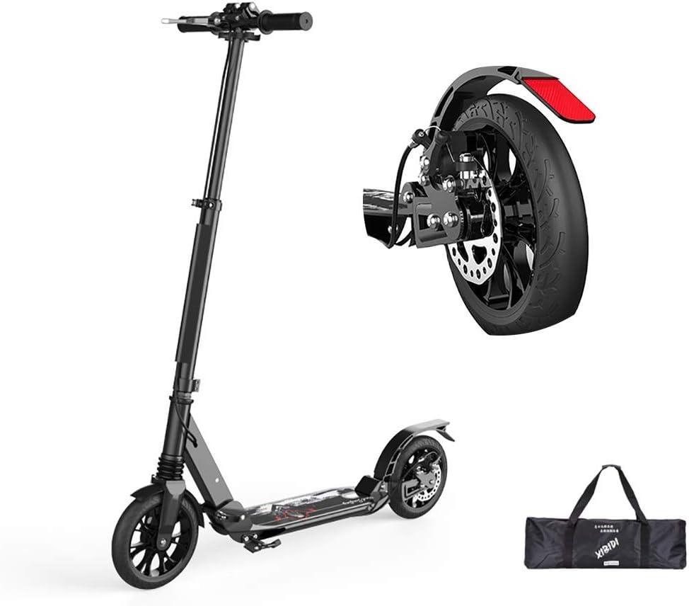 キックボード 非電気大人のキックスクーター、ディスクハンドブレーキ付きの調節可能なデュアルサスペンション通勤スクーターは、330ポンドをサポート (Color : 黒) 黒