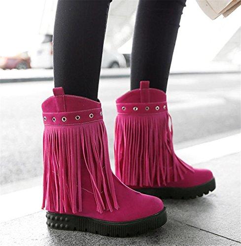 HETAO Persönlichkeit Heels Damen-Veloursleder Stiefel High Heel Pumps Quaste Runde Kopf Party Dress Temperament elegant Schuhe Pink