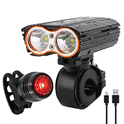 JDWAY Bike Light Mountain Bike Accessory Bicycle Headlight And Taillight USB Rechargeable Night Rider Lights 4 Lighting Modes
