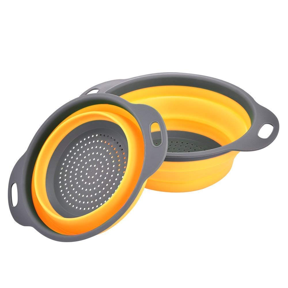 LOAZRE Colander Collapsible,2 Collapsible Colanders -Folding Strainers Sizes 8'' - 2 Quart and 9.5'' - 3 Quart Yellow