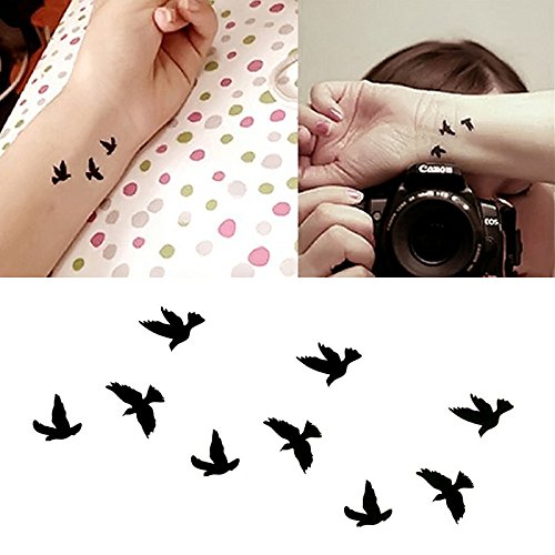 Oottati Small Cute Temporary Tattoo Black Bird (Set of 2)