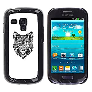 TopCaseStore / la caja del caucho duro de la cubierta de protección de la piel - Hound Dog Canine Sketch - Samsung Galaxy S3 MINI NOT REGULAR! I8190 I8190N