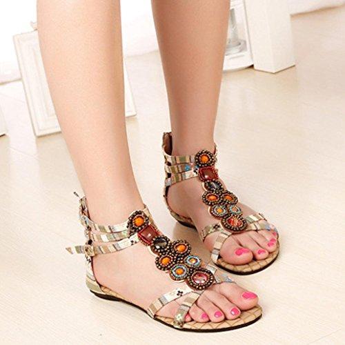 Ouneed® Damen böhmische Art Reißverschluss Ebene Schuhe Kederleiste beiläufige geöffnete Zehe Sandalen Flip Flops Damen Erwachsene Zehentrenner (39, Gelb)