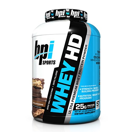 BPI Sports Whey-HD Ultra Premium Whey Protein Powder, Chocolate Cookie, 4.5 Pound (Ultra Premium Whey Protein Powder)