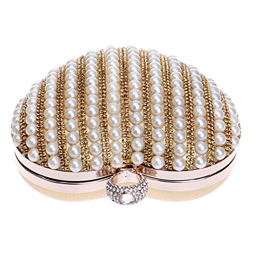 Womens Ladies Evening Wedding Pearls Wallet Chain Bags Bags Gold Clutch Dress Purse Shoulder qBOWEZOxf