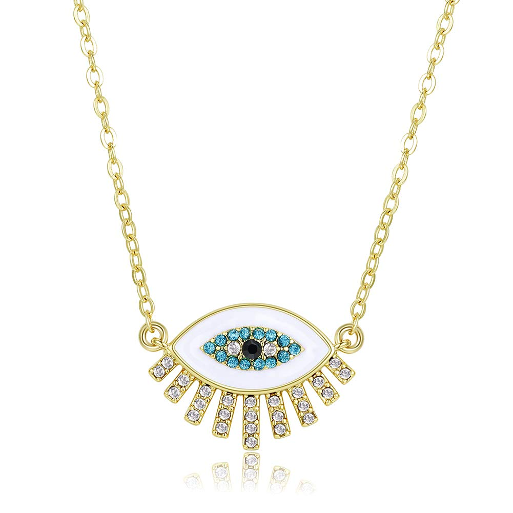 Obidos Evil Eye Pendant Necklace Turkish Rose Gold Turquoise Necklace Lucky Jewelry for Girls and Women Faith Protection Rhinestone Necklace