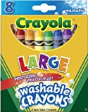 : Crayola Washable Crayons, Large, 8 Colors/Box (52-3280)