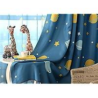 1 Pair Blue Planet Room Darkening Childrens Curtains for Kids Room