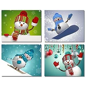 Snowman christmas prints set of four holiday for Christmas wall art amazon